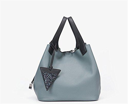 Xinmaoyuan Borse donna vera pelle Litchi Pattern secchio di acqua Borsa medie casual informale borsa a tracolla,Rosa Blue