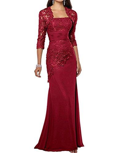 Abendkleider Damen Ballkleid Lang Chiffon Spitze Mutter der Braut Kleider mit Jacke Dunkelrot EUR40