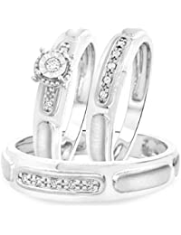 Silvernshine 3/4 Ct Diamond 14k White Gold .925 Trio Matching Engagement Wedding Ring Set