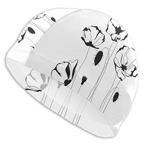astic Swimming Hat Diving Caps,Monochrome Herbs with Buds On Skinny Stems Artistic Summer Corsage Composition,for Men Women Youths ()