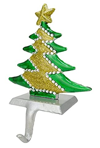Christmas Tree Shaped Stocking Hanger With Jewels + Glitter Finish