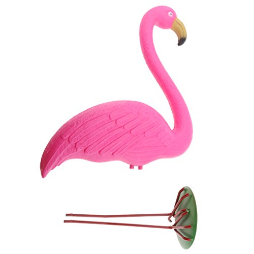 STARKWALL 1x Pink Plastic Lawn Figurine Flamingo Garden Grassland Ornament Decor 30x 10x 40cm Yard & Garden Decor
