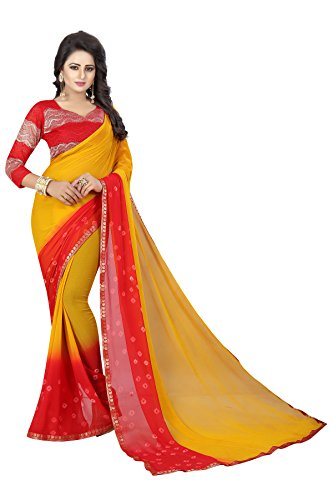 Indian Women's Shiffon Bandhani and lehariya Style Sari with Blouse Piece RED Yellow Bandhani