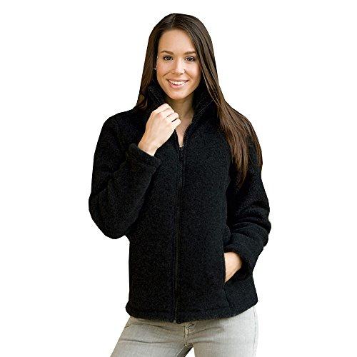 Damen Fleece Jacke, 100% Schurwolle, Engel Natur, Gr. 34/36 - 46/48, 2 Farben Schwarz Melange