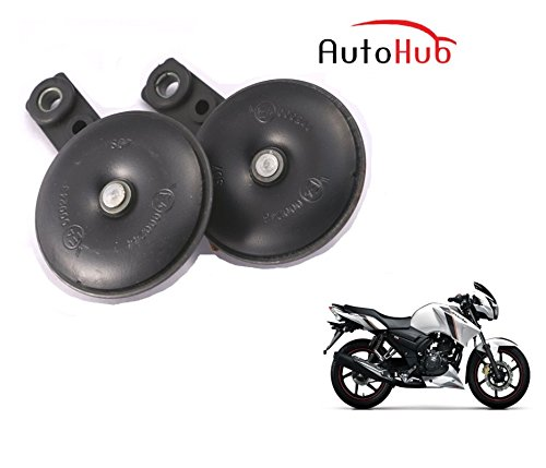 Auto Hub Uno Minda Bike Horn Set For TVS Apache RTR 160 - Set of Two (Black)  available at amazon for Rs.599