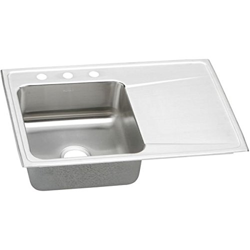 Elkay ILR3322L2 2-Hole Gourmet Lustertone Stainless Steel 33-Inch x 22-Inch Single Left Basin Top-Mount Kitchen Sink by Elkay (Küchenspüle 33 Zoll)