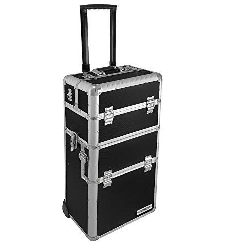 anndora Aluminium Koffer 2 Rad Trolley 60 L Pilotenkoffer Beauty Case - Schwarz