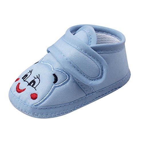 FNKDOR Baby Neugeborene Schuhe, Mädchen Jungen Klettverschluss Weiche Rutschfest Lauflernschuh (0-6 Monate, Blau) (Baby-schuh Blau)