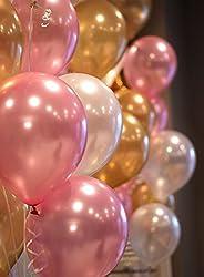 GrandShop 50414 Princess Theme Party Metallic HD Balloon - Pink, White & Gold (Pack of 50)
