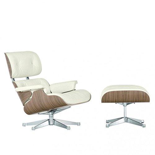 Vitra Eames Lounge Chair Drehsessel & Ottoman neue Maße, Leder Premium snow weiß Schale walnuss weiß pigm. Gestell poliert (Chair Und Lounge Ottoman)