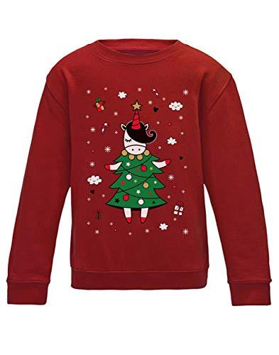 52c40c19220c0 Green Turtle T-Shirts Une Licorne Super Cute pour Noël Sweatshirt Enfant  7 8 Ans 122 128cm Rouge