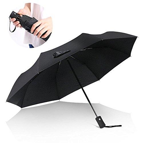 Regenschirm Taschenschirm, Aodoor Regenschirm in schwarz Taschenschirm Groß leicht & kompakt Outdoor Taschenschirm Voll-automatischer Transportabel Reiseschirm für Frauen und Männer, Schwarz