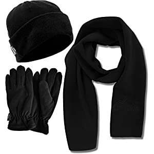 normani Fleece Winter Spar Paket – Mütze – Handschuhe – Schal – Aus kuscheligem warmen Fleece in schwarz