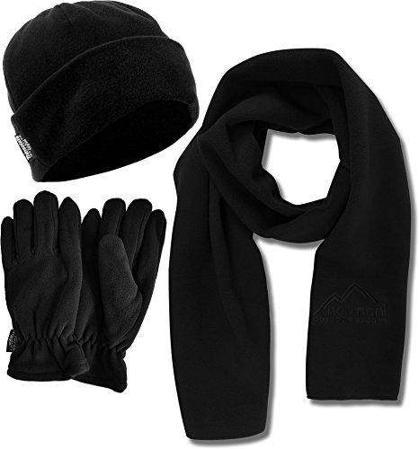 Fleece Winter Spar Paket - Mütze - Handschuhe - Schal - Aus kuscheligem warmen Fleece in schwarz Größe M (Mütze Fäustlinge)