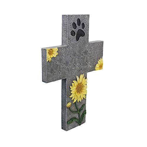 Caige Haustier-Denkmal Grabstein, Kreuz Hund Gedenkstein mit Paw Print