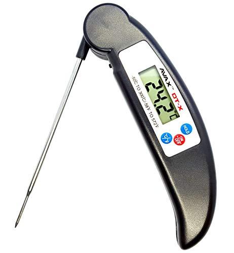 AVAX (TM) DT-X-Folding digitale da cucina con display LCD; termosonda per vino, alimenti, carne, bistecche, tacchino, barbecue, Yerba Mate, latte e zucchero, ecc., intervallo di temperatura: da-50 °C a 300 °C , colore: nero