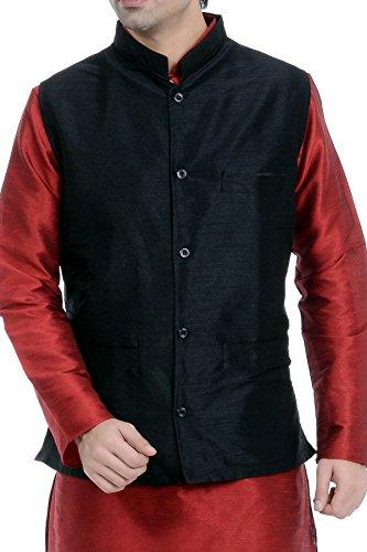 Vastramay Black Cotton Silk Solid,Woven Men's Sleeveless Jacket ( Size: 42)