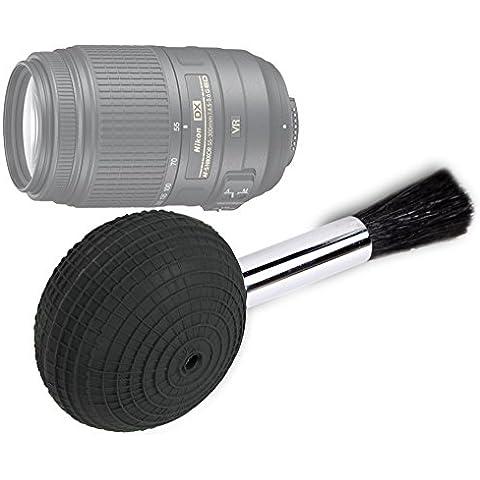 DURAGADGET Cepillo Soplador Para Lente Nikon AF-S DX VR 55-200mm F4-5.6 GII // VR 55-300mm F4.5-5.6 VR // VR 70-300mm F4.5-5.6 G - ¡Perfecto Para Eliminar Polvo Y Arena!