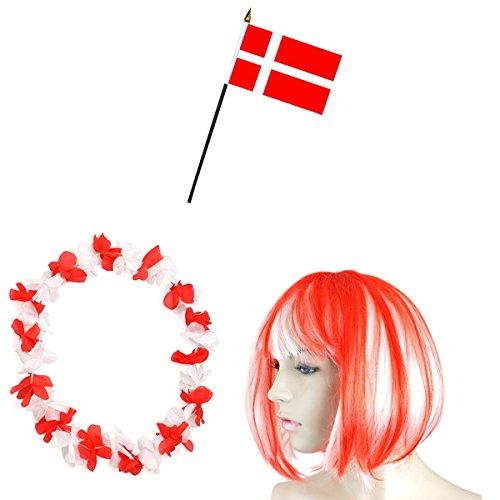 Kostüm Dänemark Un - Sonia Originelli Fan-Paket-4 WM Fußball Kurzhaar Perücke Hawaiikette Flagge Party Farbe Dänemark