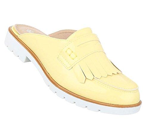 Damen Sandalen Schuhe Strandschuhe Sommerschuhe Pantoletten Slipper Gelb