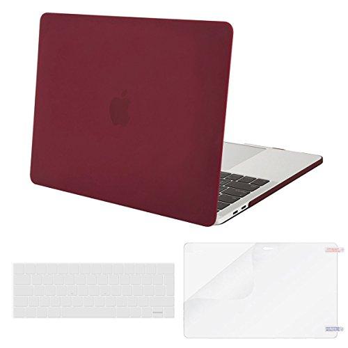 MOSISO Hülle Kompatibel MacBook Pro 13 2019 2018 2017 2016 Version A2159/A1989/A1706/A1708, Plastik Hülle mit Klar Tastaturschutz mit Displayschutz Kompatibel Neueste MacBook Pro 13 Zoll, Marsala Rot - Pro 13 Silikon Aus Macbook Tastatur