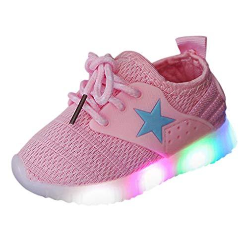 Unisex Kinder Schuhe mit Licht LED Leuchtende Blinkende Sneaker,Dorical Babyschuhe Sommer Atmungsaktiv Mesh Sportschuhe Lauflernschuhe Krabbelschuhe mit Weiche Sohle 21-35 Turnschuhe(Rosa,23 EU)