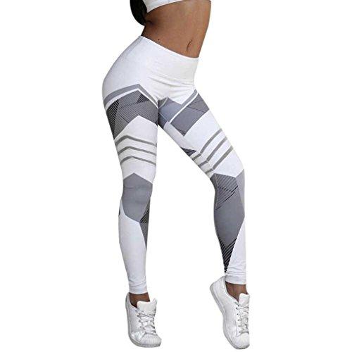 Bellelove Frauen Sport Gym Yoga Workout Jeans Mitte Taille Laufhose Fitness Elastische Leggings (S, Weiß) (Taille Elastische Mitte)