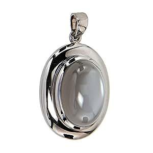 La Luna Damen-Anhänger Kettenanhänger Sterling-Silber 925 rutheniert schwarz Mondstein grau