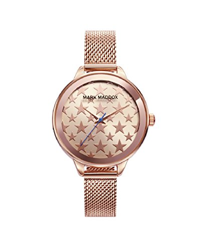 Mark Maddox mc6008 – 98 Ladies Watch Quartz Metal Ip Rosé Dial Stars Size 36 mm
