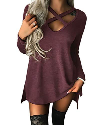 YOINS Pullover Damen Sexy Oberteil Damen Schulterfrei Langarmshirts Herbst T-Shirt V-Ausschnitt Tops