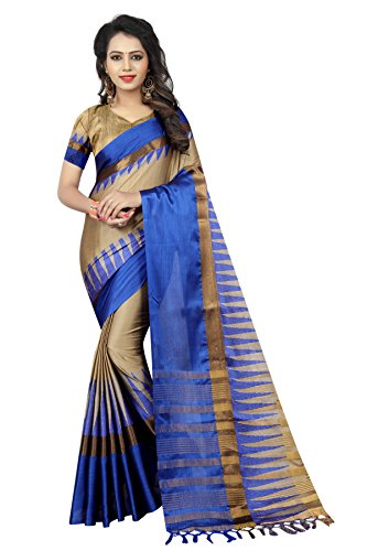 SATYAM WEAVES WOMEN'S ETHNIC WEAR BANARASI PLAIN ART SILK BEIGE COLOUR SAREE