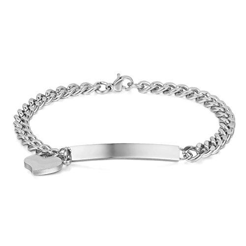 JewelryWe Schmuck Edelstahl Armkette Damenarmband Charmsarmband Herz- Anhänger Armband Silber für Damen kostenlos Gravur