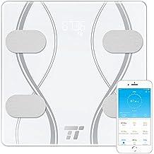 Bilancia Pesapersone Digitale TaoTronics Misurazione di Peso, BMI, Grasso Corporeo, Acqua, Massa Muscolare, Massa Ossea, BMR & AMR. Bilancia Avanzata per il Bagno con 4 Sensori di Precisione