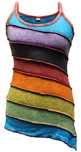Shopoholic Mode Damen Stonewashed Rainbow Gestreift Hippie Boho Tank top - Mehrfarbig, XXX-Large (Damen Tank Rainbow Top)