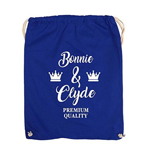 Comedy Bags - Bonnie & Clyde - PREMIUM MOTIV - Turnbeutel - 37x46cm - Farbe: Schwarz / Pink Royalblau / Weiss