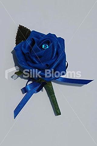 Boutonnière Simple Bleu roi-Rose/nœud & Cristal Broches Bleu