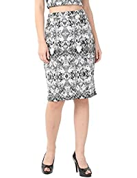 Alibi Grey Printed Knitted Skirt for Women