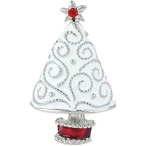 Ever Faith White Star Brooch dell'albero di Natale austriaco della radura di cristallo dello smalto silver-tone N04523-1 - Bambino Epoca Spilla Gioiello