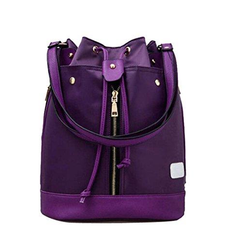 BUKUANG Tessuto Di Nylon Immagine Pacchetto Secchio Zaino Tre Pezzi Spalla Ms. Borse Diagonali,Purple Purple