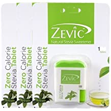 Zevic Stevia Sugar Free White Tablets - 100 Tablets (Pack of 3)