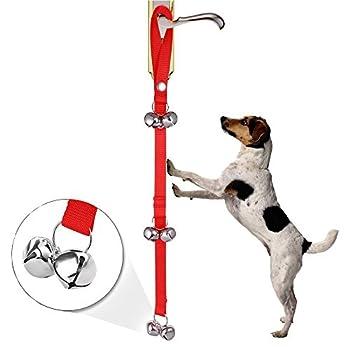 MeFe Potty Adjustty Bells, pour la formation de pot votre chiot la manière facile, boucle ajustable et longueur s'adapte à chaque taille chien et toutes les poignées de porte (rouge)