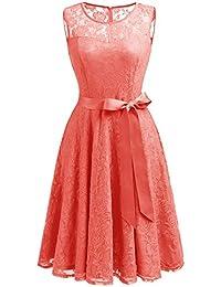 Dressystar Robe femme soirée/bal de vintage dentelle sans manches avec une ceinture