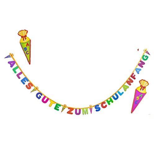 Oblique-Unique® Schulanfang ABC Girlande - Schuleinführung Girlande - Zuckertüte Kinder Schüler Zuckertüten Fest Dekoration - Wunderschöne farbenfrohe Girlande zur Schuleinführung - 2