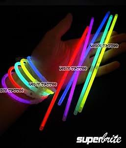 5 boîtes de 15 Bracelets Fluo lumineux - 75 bâtonnets - SuperBrite multicolores
