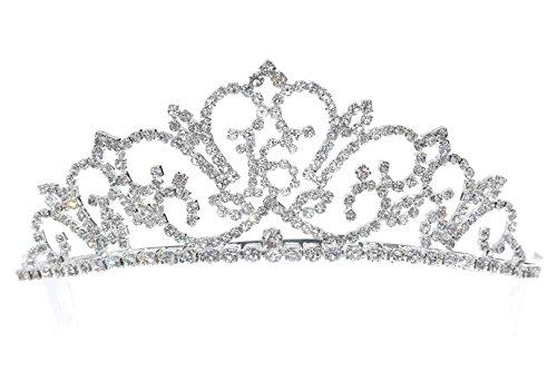 Venus Jewelry Tiara o corona de fiesta de cumpleaños de cristal de Rhinestone - Vigesimoprimer Claro