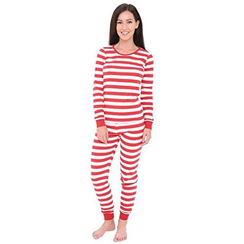 Skylinewears Women's Long Sleeve Fitted Striped Casual 2 Piece Pajama Set Sleepwear