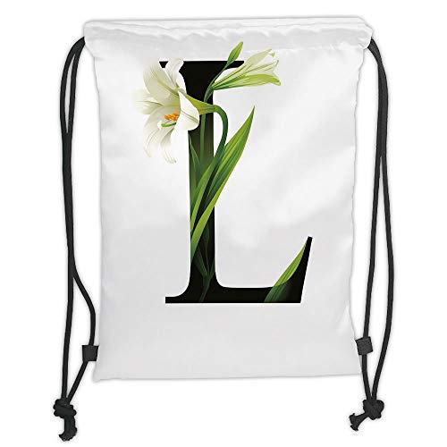 Abc Gum (GONIESA Drawstring Sack Backpacks Bags,Letter L,Conceptual ABC Typography Capital L with Lily Flourish Floral Natural Grace,Green White Black Soft Satin,5 Liter Capacity,Adjustable String Closu)
