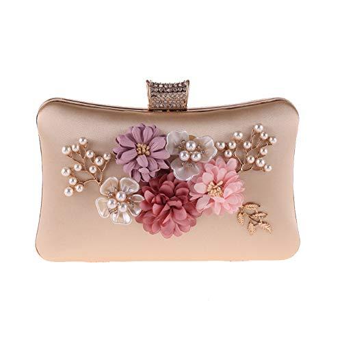 Elegante borsa da sera in poliestere con fiore in pochette da donna con borsa da sposa con decorazione in finta perla borsa da cocktail da sera (colore : albicocca)