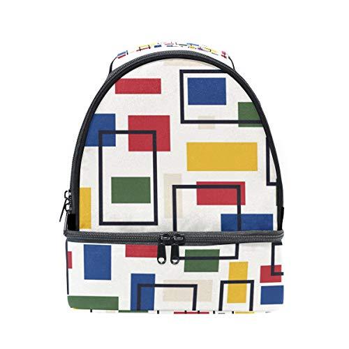 Lunchbox mit Schulterriemen, geometrisches Karomuster, für Kinder, Mädchen, Jungen, Erwachsene,...
