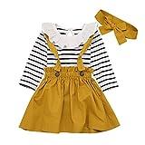Livoral Madchen Geschenke 8 iahre Säuglingsbaby-Prinzessin Lace Stripe Short Jumpsuit Sling Dress Set(Weiß,100)
